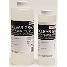 MAX CLEAR GRADE Epoxy Resin System - 48oz. Kit - Food Safe, FDA Compliant Coating, Crystal Clear, Stain Resistant, Countertop and Tabletop Coatings, Wood Coatings, Fiberglassing Resin
