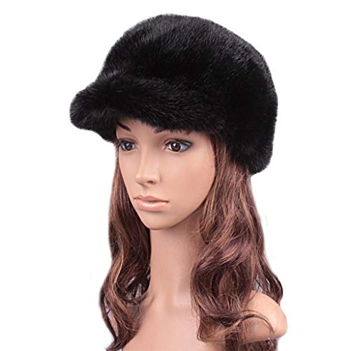 - ClimbUp Womens Mink Fur Hats Baseball caps for Womens Black