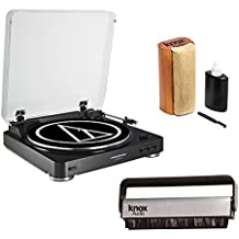 Audio Technica AT-LP60BK Turntable (Black) w/ Knox Carbon Fiber Vinyl Brush & Cleaning Kit