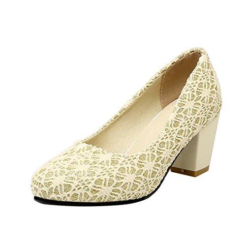 YE Damen Blockabsatz Pumps High Heels Geschlossen mit 6cm Absatz Elegant Schuhe Beige