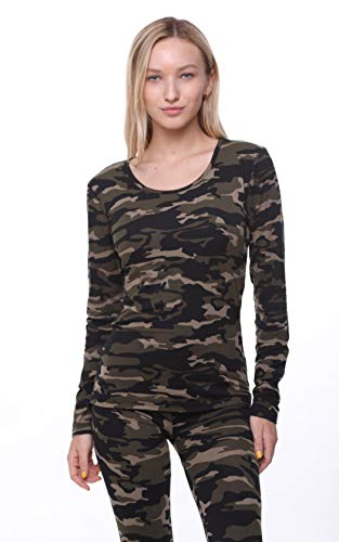 Women Thermal Underwear Top by Outland; Base Layer; Soft Lightweight Warm Fleece (XSmall, Camouflage)