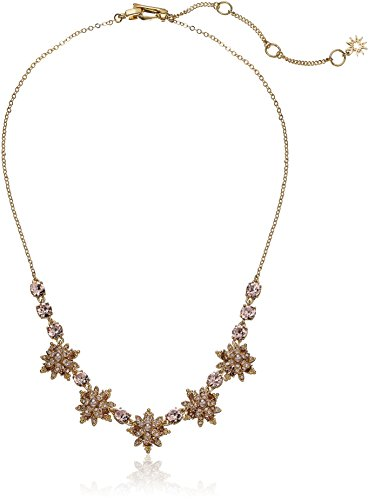 Marchesa Goldstone/Blush/Silk Crystal Star Frontal Necklace, Gold, One Size ()