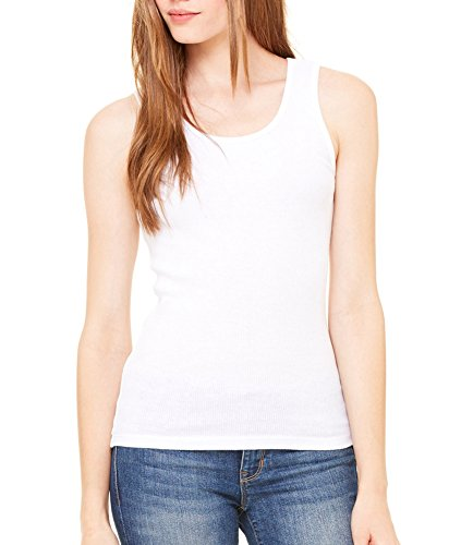 Bella + Canvas Womens 2x1 Rib Tank (4000)- WHITE,L