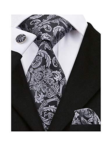 Barry.Wang Mens Silk Paisley Tie Set Black Silver Necktie Pocket Square Cufflinks Set ()