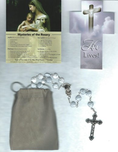Cat Eye Rosary Crucifix (White Crackled Heart Rosary with Our Lady of the Rosary Mysteries Holy Card and Velour Bag)