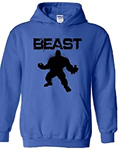 icustomworld Gym Beast Hulk Hoodie Bodybuilding Hooded Sweatshirts S Blue