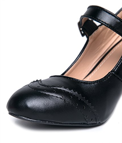 Heels Pyöreä Black Alhainen Low Jane Shoe Nilkka Strap Pu J Musta Kissa Kengän Oxford Pumput Mary Kärki Kym Soma Hihna Kitten Toe Adams Cute By With Pumps Selin Ankle Retro Round wUEq8B4Y
