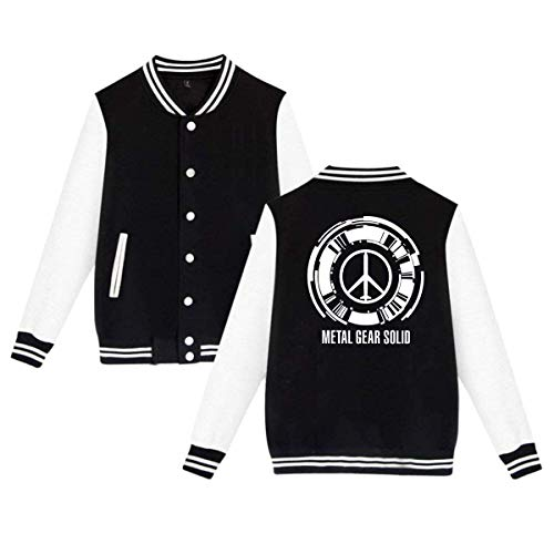Metal Gear Mens & Womens Vintage Hoodie Baseball Uniform Jacket Sport Coat Black ()