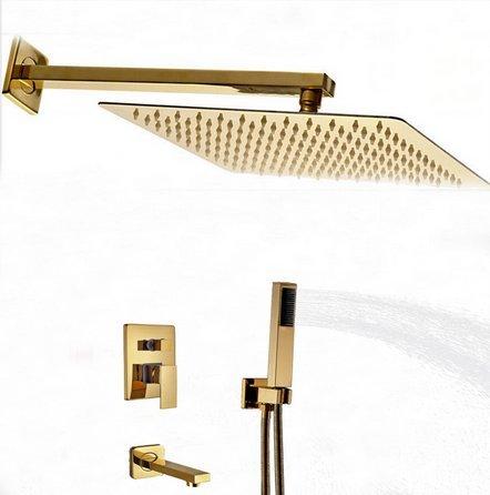 GOWE Golden Brass Square Rain Shower Head Faucet Tub Spout Hand Unit 3 Ways 12