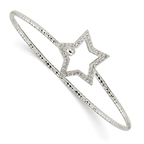 ICE CARATS 925 Sterling Silver Cubic Zirconia Cz Star Interlocking Bangle Bracelet Cuff Expandable Stackable 6.5 Inch Hook Clasp Fine Jewelry Gift Set For Women Heart Cubic Zirconia Stackable Bangle
