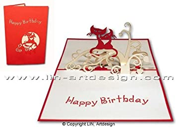 LIN Pop Up Greeting Card For Cat Lovers Bithday Cards
