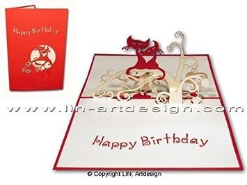 Lin Pop Up - Tarjeta de felicitación de cumpleaños para gato ...