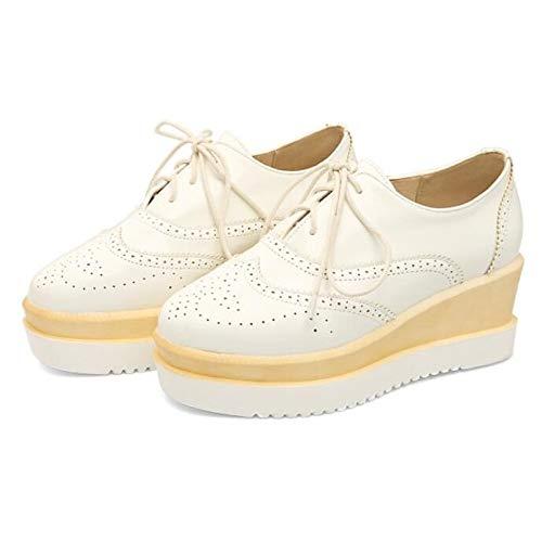 Flat Comfort Rojo Poliuretano Cerrado ZHZNVX del de Heel Dedo PU Fall White Zapatos pie Blanco Negro Sneakers Mujer YaFfnUx8Wf