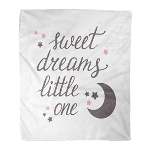 (Golee Throw Blanket Baby Sweet Dreams Little One Hand Lettering Moon and Stars 50x60 Inches Warm Fuzzy Soft Blanket for Bed Sofa)