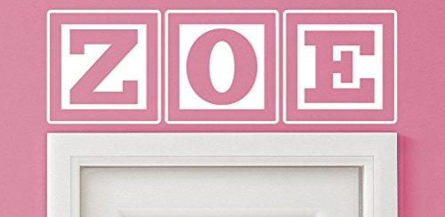Zoe Baby Block Name Bedroom Closet Door - 30 Inch Wide White Wall Vinyl Decal Decorative (Zoe Block)
