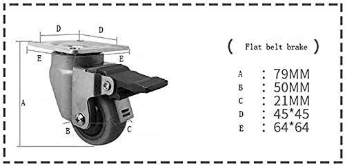 Horizontal Adjustment F-C 2 Quiet Lawnmower 2 Inches Zxwzzz Footrest 2 Castors PCS Heavy Duty Transport Rollers 50 Mm Universal Rotary Brake