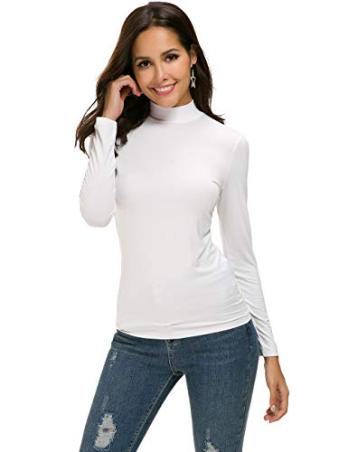MANAIXUAN Women's Long Sleeve Stretchy Tshirt Slim Fit Mock Turtleneck Comfy Basic Tee Top White L