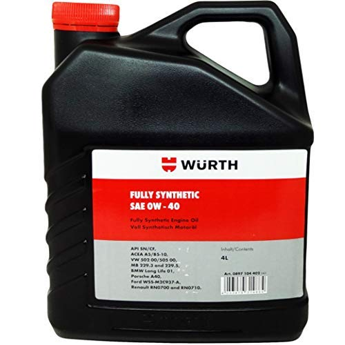 18dc8df236 Wuerth SAE 0W-40 Fully Synthetic Engine Oil (4 L)  Amazon.in  Car    Motorbike
