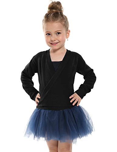 Kidsmian Little Girl's Classic Long Sleeve Knit Wrap Top Ballet Dance Cardigan (130(Age for 6-7Y), Black) (Knit Wrap Cardigan)