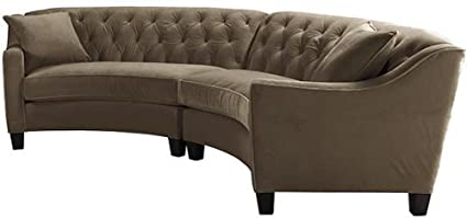 Ordinaire Riemann Curved Tufted Sectional, 2 PIECE, MCROSUEDE MOCHA