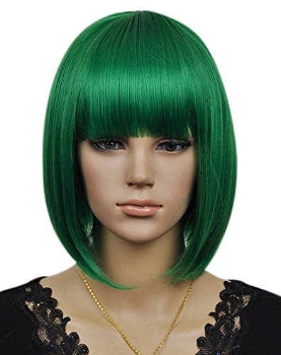 (Kalyss Women's Cosplay Party Kanekalon Synthetic Fiber Short Straight Dark Green Bob Hair Full)