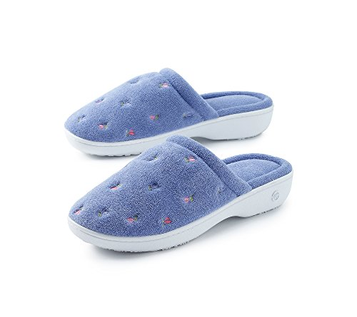 Isotoner Women's Signature  Terry Floral Embroidered Clog Slipper, Periwinkle, 7.5-8
