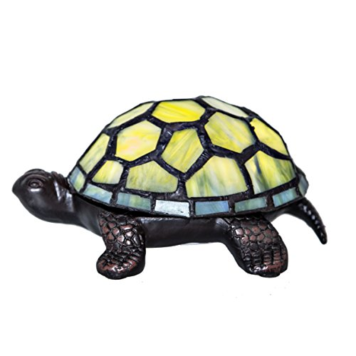 2.5'' Stained Glass LED Cordless Turtle Accent Lamp - Green by River of Goods