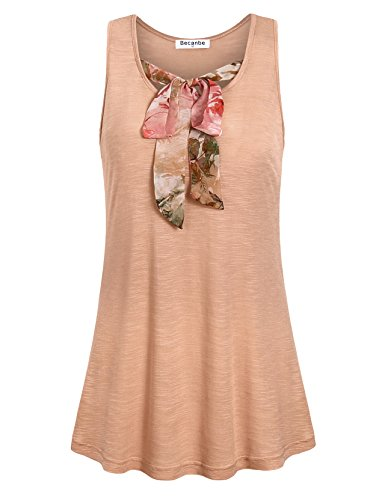 Becanbe Women Tunic Summer,Ladies Sleeveless Knot Bow Tie Scoop Neck Sides Shirred Comfy Soft Tank Tops Blouse(Beige,Medium) (Bow Comfy)