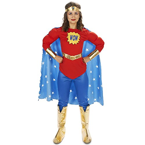 Pop Art Comic Superhero Female WOW with Leggings Adult Costume S (Superheroes Outfit)