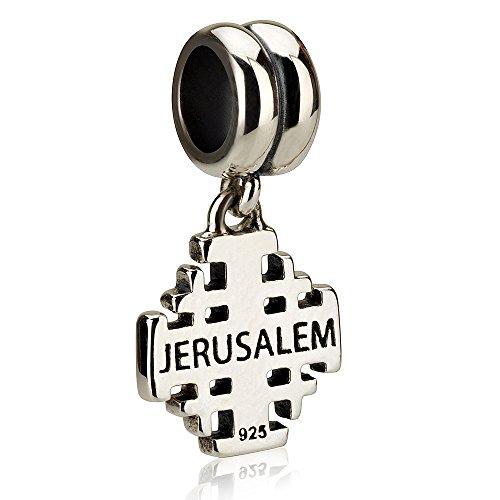 (Genuine 925 Sterling Silver Dangle Pendant Charm for 3mm Necklace or Snake Chain Bracelet, Jerusalem cross)