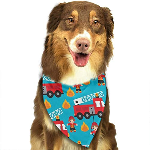 OURFASHION Fire Truck and Hero Boys Car Bandana Triangle Bibs Scarfs Accessories for Pet Cats and Puppies.Size is About 27.6x11.8 Inches (70x30cm).]()