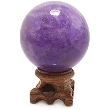 Amethyst Crystal Sphere, Rare Purple Power Stone Ball for Crystal Healing, Meditation, Scrying, Feng Shui, Hand-Made (45mm)