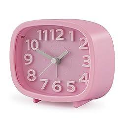 "Alarm Clock, Chelvee 3"" Quartz Analog Alarm Clock with Night Light, Ultra Small, Silent with No Ticking (Pink)"