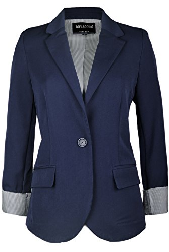 TL+Women%27s+Casual+Lightweight+Work+Office+Solid+Color+Versatile+Jacket+Blazer+51R_Navy+M