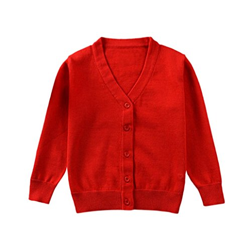 Infant Baby Boys Girls Knitted Colorful Solid Sweater Cardigan Coat Tops Toddler Autumn Winter Clothes 1-3 T (2-3 Years Old, Red) -