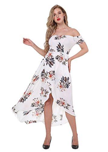 Yidarton Mujer Vestido Largo Boho Sin Mangas Maxi Vestido De Impresión Floral De Playas Verano blanco-2