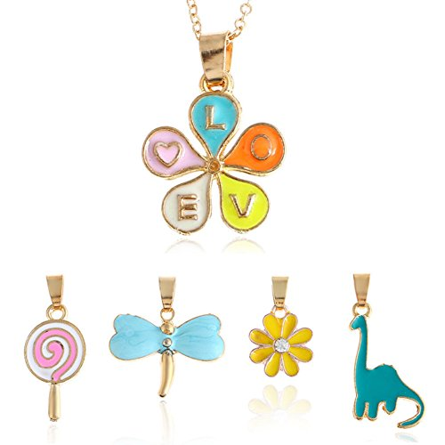 ISAACSONG.DESIGN Gold Tone Crystal Enamel 5 Charms Pendant Set Necklace for Women and Girls (Happiness childhood) - Crystal Lollipop Pendant