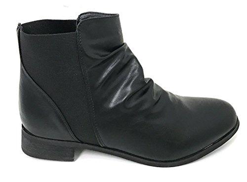 G4u-sc B618s Stivali Da Donna In Ecopelle Elastiche Laterali Gore Caviglia Slouchy Scarpe Occidentali, Nero Nero