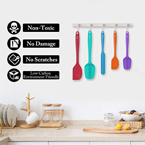 Hotec Food Grade Silicone Rubber Spatula Set Kitchen Utensils for Baking, Cooking, and Mixing High Heat Resistant Non Stick Dishwasher Safe BPA-Free Multicolor Set of 5