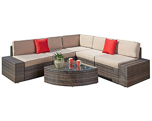 Sectional Seating Set - Suncrown Outdoor Furniture Sectional Sofa & Wedge Table (6-Piece Set) All-Weather Brown Wicker with Washable Seat Cushions & Modern Glass Coffee Table | Patio, Backyard, Pool | Incl. Waterproof Cover