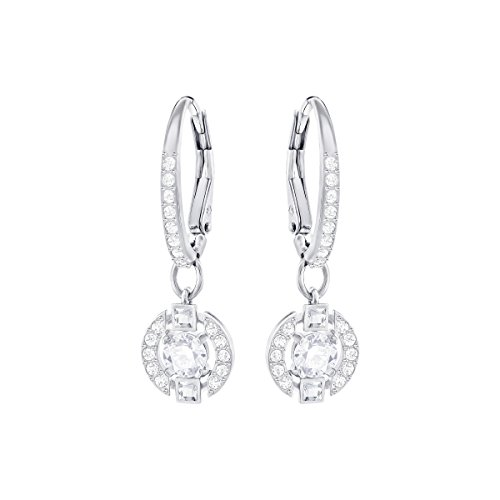 Swarovski Jewelry White Sparkling Dance Round Earrings