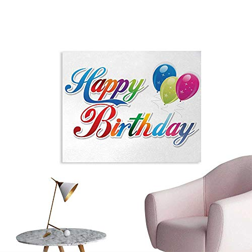 Tudouhoho Birthday Cool Poster Stylized Modern Colorful Writing Balloons with Stars Lovely Romantic Celebration Wallpaper Multicolor W28 xL20