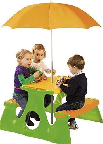 Juego de Mesa y sombrilla de Picnic para niños, Mesa de jardín para niños con Juego de sombrilla: Amazon.es: Jardín