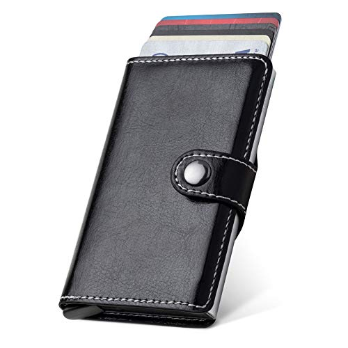 LUNGEAR Minimalist Card Wallet RFID Blocking with Banknote Compartment,Leather Credit Card Holder Pop Up Design,Slim Security Metal Card Case for Men and Women(Black) (Out Dispenser)