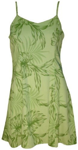 Paradise Found Womens Monstera Palm Princess Seam Mini Sundress in Kiwi Green - XS by Paradise Found