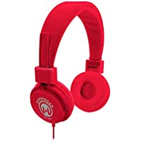 HyperGear 13283 Hi-Fi Stereo Headphones Over Ear Headset with Built-In Inline Microphone 3.5mm Cable, Red