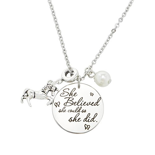 Inspirational Jewelry Necklace for Women Girls Gift - She Believed She Could So She (Unicorns Gifts)