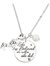 Inspirational Jewelry Necklace for Women Girls Gift - She Believed She Could So She Did