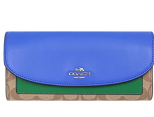 COACH SLIM ENVELOPE WALLET IN COLORBLOCK SIGNATURE COATED CANVAS by Coach