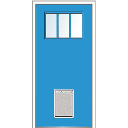"""Price comparison product image National Door Company Z029026R Fiberglass Smooth, Utah Blue, Right Hand In-Swing, Exterior Prehung Door, Craftsman 3-Lite with Pet Door, 32""""x80"""""""
